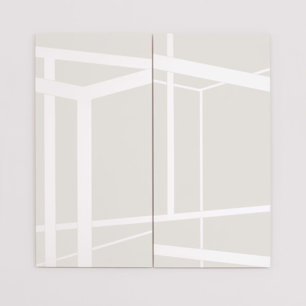 angle 01, 2015, acryl, laque, aludibond, two parts, transformable, 100 x 100 cm