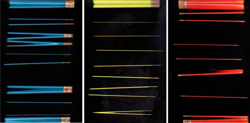 Eprouvettenrollen, 2014, C-Print auf Aludibond, je 60 x 40 cm,