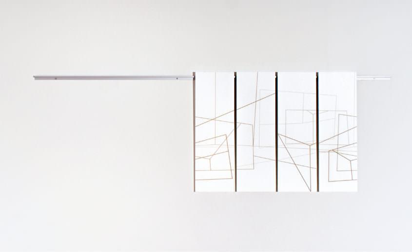 Loopen 2015 vierteilig, Lasergravur in Karton 300g, Aluminiumschiene, 70 x 92 cm