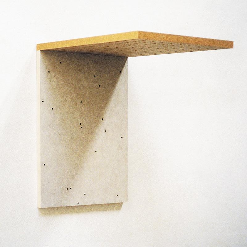 Deck 03, 1997, Mischtechnik auf Holzfaserplatten und Bohrungen 47 x 32 x 45 cm