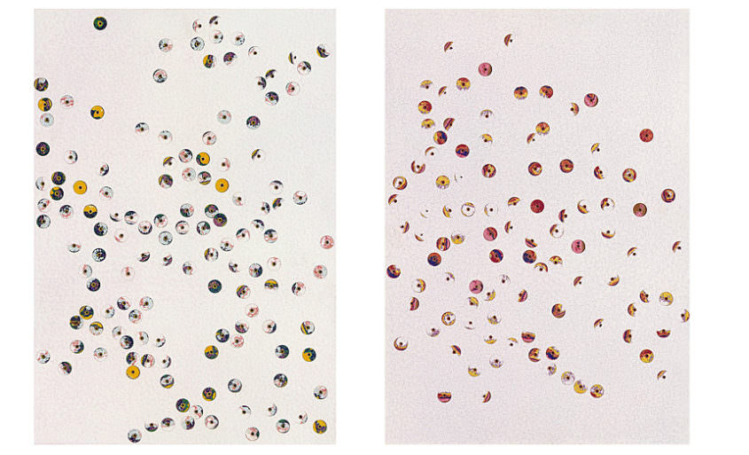 Bubbles, 1999, Dispersion, Drillholes, MDF, á 45 x 32 cm
