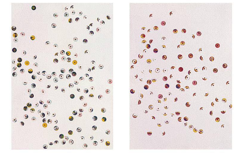 Bubbles, 1999, Dispersion, Drillholes, MDF, á 45 x 32 cm