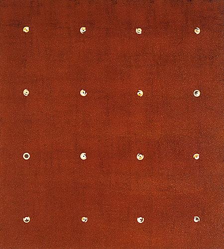 Farbbohrung 02, 1999, Dispersion, Bohrungen, 76 x 68 cm