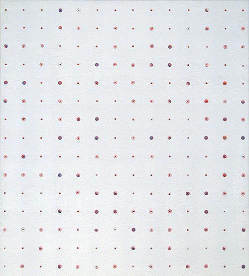 Farbbohrung 06, 1999, Dispersion, Bohrungen, 76 x 68 cm