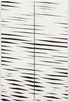 Barbara Höller, Drift 01, 2018, acrylic, enamel on aludibond, Diptychon, 150 x 100 cm
