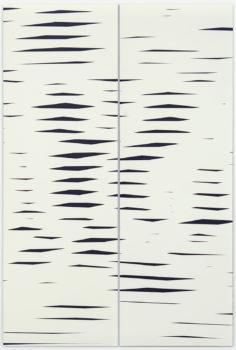 Barbara Höller, Drift 02, 2018, acrylic, enamel on aludibond, Diptychon, 150 x 100 cm