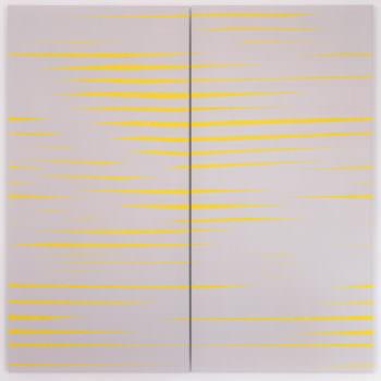 Recall 01, 2019, Acrylic, Enamel, Aludibond, two parts, 100 x 100 cm