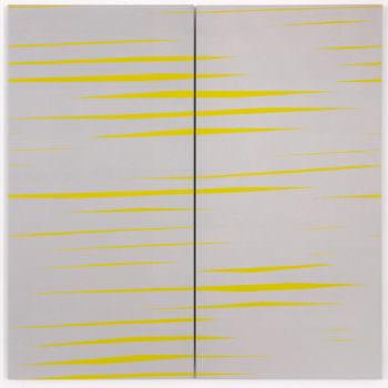 Recall 03, 2019, Acrylic, Enamel, Aludibond, two parts, 100 x 100 cm